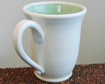 Large Coffee Mug, Stoneware Ceramic Pottery Mug in Mint Green 16 oz.