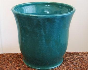 Ceramic Utensil Crock in Peacock Blue / Green - Stoneware Pottery Kitchen Crock