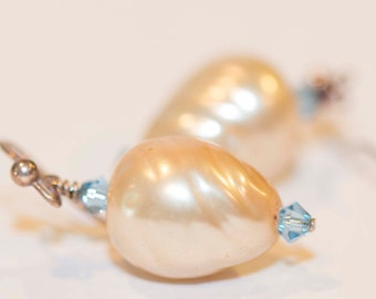Earrings, Rescued Miriam Haskell Swirl Pearl Earrings
