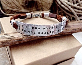 Personalized Leather Bracelet, Rustic Leather Bracelet, Leather Cuff, Medical Alert Bracelet, ID Bracelet, Name Bracelet, Quote Bracelet