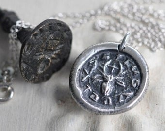 St. Hubert wax seal necklace - St. Hubertus stag wax seal pendant - saint of hunters, peace, harmony - silver medieval wax seal jewelry