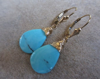 Turquoise Earrings, Gold, Arizona Turquoise, Wrapped, Blue, Drop, Dangle, Irisjewelrydesign