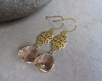 Peach Gold Earrings, Filigree, Champagne, Drop, Dangle, Irisjewelrydesign