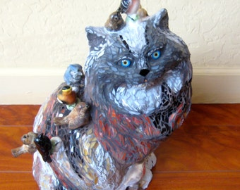 Cat with the Birds that Got Away. Cat Sculpture. Calico Cat. Cat & birds. Life Sized Cat. Vintage Cat Mosaic.