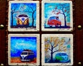Fine Art Coasters, set of 4, VW Bus, Volkswagen Bus, drink coaster, travertine, stone, distressed, car, camper bus