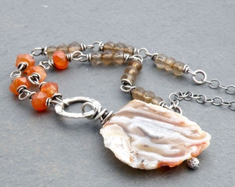 Agate Slice Pendant Necklace, Tan, Cream and Orange Agate Gemstone, Faceted Carnelian, Champagne Quartz Necklace, Sterling Silver, #4677