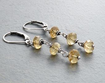 Citrine Dangle Earrings, Citrine Earrings, Faceted Yellow Citrine Gemstone, Lever Back Dangle, November Birthstone, Sterling Silver, #4702