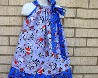 Gray and Blue ED HARDY Pillowcase dress in sizes 6M to  7Y