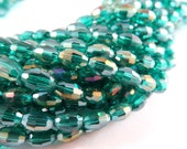 72 Glass Beads Electroplaced Sea Green Iridescent Teal AB Faceted Oval 6x4mm - 16 inch - G6025-GR72