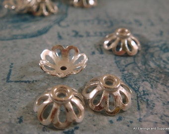 10 Silver Flower Bead Cap w Cutouts 11x4mm fits 10-12mm Bead Plated Copper - 10 pc - 6013-11