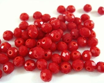 75 Red Opaque Glass Beads Light Faceted Rondelle Abacus 4x3mm - 75 pc - G6063-LRD75