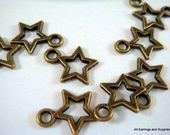 20 Star Charm Drop Pendant Antique Bronze Tibetan Silver LF/NF 12x10mm - 20 pc - M7041-AB20-M