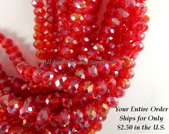 36 Red AB Glass Bead Faceted Transparent Rondelle Abacus 8x6mm - 36 pc - G6021-RDAB36
