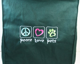 DragonEmbroidery's 'Peace Love Pets' Grocery Tote in Hunter Green Handmade4Hounds