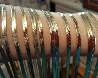 """36"""" unfinished 14k gold herringbone chain.  HQ Electroplated 14k gold over silver, non tarnish"""