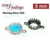 6pcs x Round 8mm Quality Cast Bezel Cup Connectors Sterling Silver 925 For Setting - Choose your Finish (8698SV)