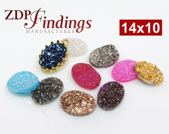 1pcs x High Quality Oval 14x10mm Druzy Flat Back Cabochon Natural Gemstone, Choose your Color - (DRU1410)