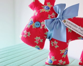 Lavender Dog Sachet, Red Floral Lavender Scented Puppy Sachet, Pretty Floral Dog Home Decoration, Small Gift