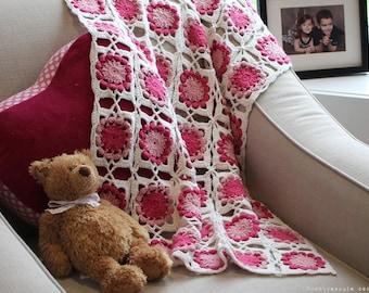 CROCHET PATTERN - Bed of Flowers Baby Blanket - Instant Download (PDF)