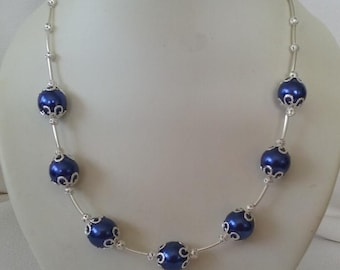 Royal Blue Large Glass Pearls with Silver Accents Necklace