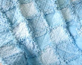 """Baby Boy Rag Quilt, 36"""" x 41"""" Crib Quilt, Minky Baby Blanket, Toddler Quilt, Boy Crib Bedding"""