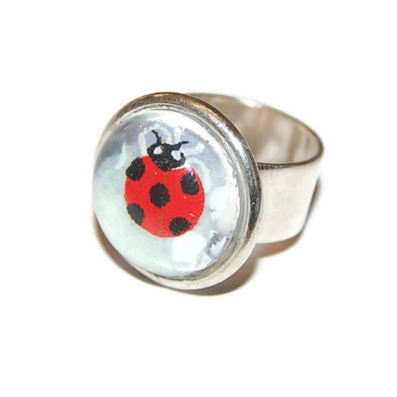 Ladybug Glass Dome Ring: Purple Lotus - Adjustable Wide Band Silver Ring
