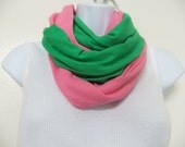 T shirt Two-in-One Infinity Cowl Scarf/Pink and Green AKA Sorority Scarf