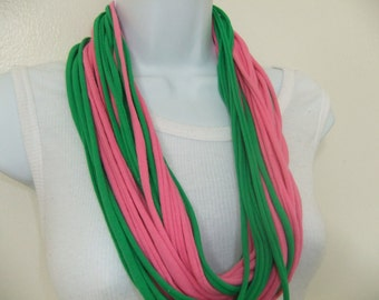 Alpha Kappa Alpha AKA Sorority Multi Strand Infinity T Shirt Scarf Necklace Looped Eternity Circle