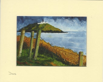 Ballycotton lighthouse from the cliffs. Giclee Print