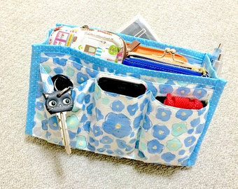 Purse Organizer / Inner Purse / Purse Insert / Bag in Bag --- Cats in the Blue Flowers
