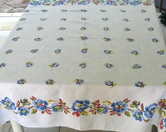 linen tablecloth . printed linen tablecloth . cross stitch print tablecloth . floral linen tablecloth . homespun linen . square linen cloth