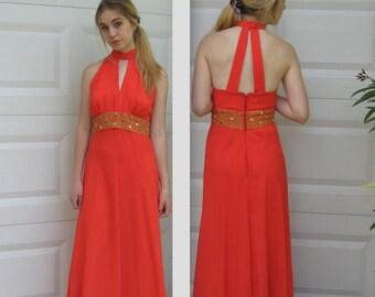 orange halter dress . 60s cocktail dress . orange 60s gown .