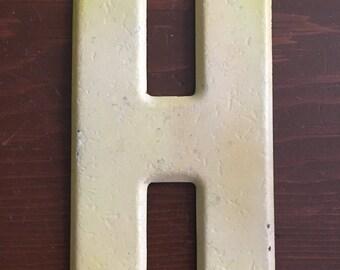 """Vintage metal letter H - 7.5"""""""