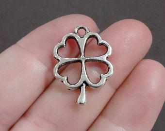 10, Clover Heart, Four Leaf, Lucky Clover, Shamrock Charms 17x24x2mm, Hole: Approx. 2mm