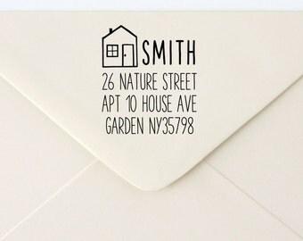 Custom Rubber Stamp - Custom Address Stamp - Return Address Stamp - Personalised Address Stamp - Gift - House 1