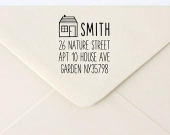 Custom Rubber Stamp - Custom Address Stamp - Return Address Stamp - Personalised Address Stamp - Gift - House 2