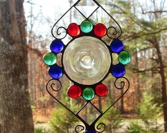 Stained Glass Suncatcher - Clear Rondel, Bevels, with Cobalt Blue, Green, Red, & Clear Nuggets