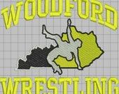 Woodford Wrestling Custom Digitized Embroidery Design (private listing)