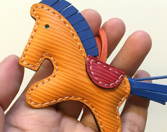 Small size - Beon the epi horse charm ( Orange epi with dark blue cowhide mane/tail )