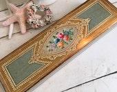 Italian Florentine Box, Rose Roses, Glove Keepsake Trinket Jewelry, Aqua Teal Blue Green and Gold