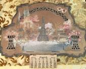 German Die Cut Calendar 1930s Diecut Calendar Advertising 1933 Fountain Roses