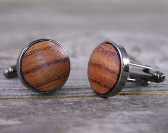 Wood Cufflinks - African Bubinga Thin Bezel cuff links