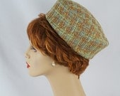 ON SALE Vintage 1960s Hat Mint Green and Gold Plaid Pillbox by Mr Karl