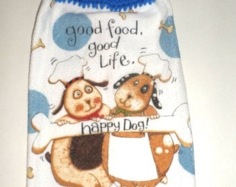 Dogs Life Kitchen Towel - Crochet Top Towel - Hanging Dish Towel - Blue Dog Towel - Hanging Dish Towel - Plush Towel - Cute Dogs Towel