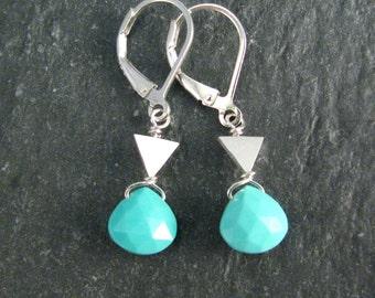 Arizona Turquoise Earrings - Tribal Turquoise Ethnic Earrings in Sterling Silver - Geometric Triangle Earrings - December Birthstone