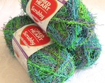 Red Heart Scrubby yarn, CAPRI, worsted weight, washcloth dishcloth polyester yarn, bath toy yarn, lime blue purple yarn