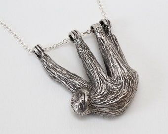 Sloth Necklace - Sloth Gift - Silver Sloth - Sloth Jewelry - Statement Necklace - Animal Jewelry