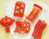 5 pcs Happy Chinese Item Cabochon (19mm-40mm) DR569
