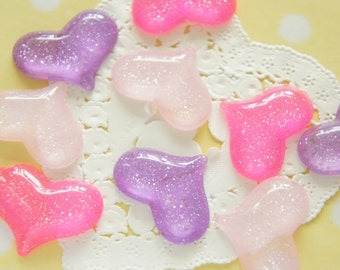 9 pcs Glitter Heart Cabochon (24mm30mm) IK099
