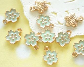 5 pcs Sakura Pastel Cherry Blossom  Charm (10mm)  Mint green AZ345